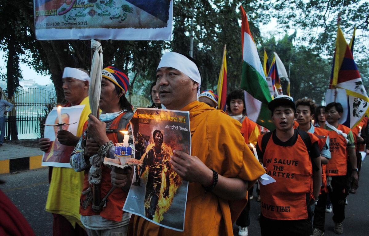 Tibetans march in Assam
